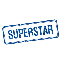 Superstar blue square grungy vintage isolated vector