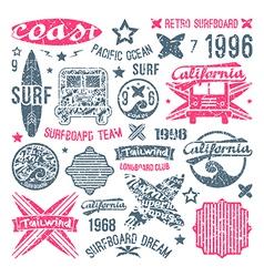Surfing emblem and design elements vector