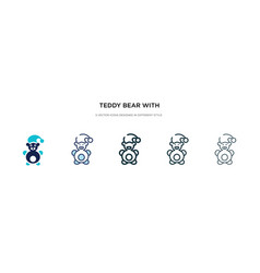 Teddy bear with sleep hat icon in different style vector