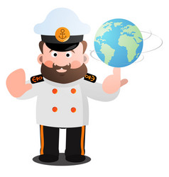The captain twists the globe with a cartoon funny vector