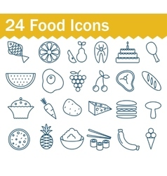 Thin line food icons set Outline icon collection vector image