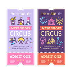 tickets circus set with color thin line icon vector image