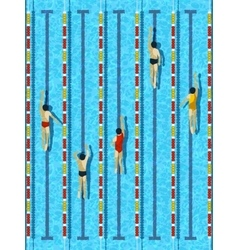Top view swimming pool with athlete swimmers vector