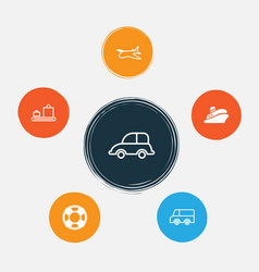 Transportation icons set collection of auto car vector