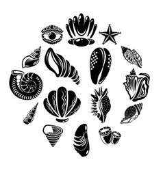 Tropical sea shell icons set simple style vector