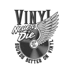 Tshirt print with winged vinyl disk for apparel vector