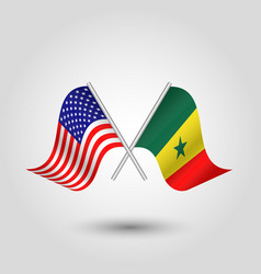 Two crossed american and senegalese flags vector