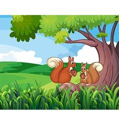 Two wild animals under tree vector