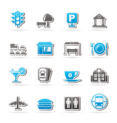 urban and city elements icons vector image