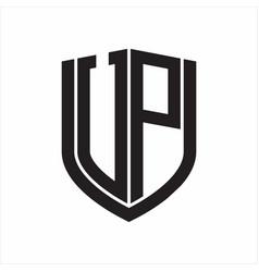 Vp logo monogram with emblem shield design vector