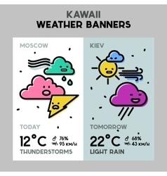 Weather cartoon line banners vector image