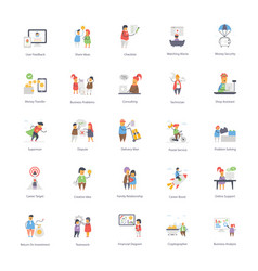 Web flat icons bundle vector