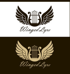 Winged lyre icons vector