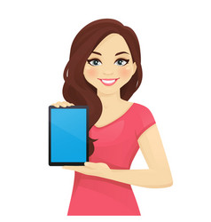 Woman showing tablet vector