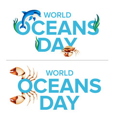 world oceans holiday logo graphic design concept vector image