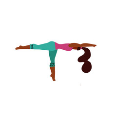 young woman stand on one leg in a yoga pose and vector image