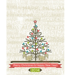 background with christmas tree and two squirrels vector image