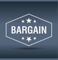 Bargain hexagonal white vintage retro style label vector