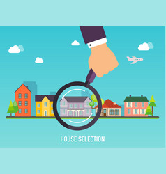 house selection magnifying glass with house vector image vector image