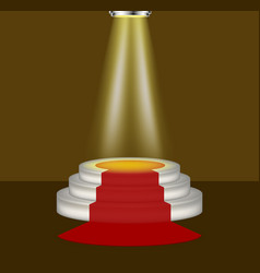 light shines on the empty podium with red carpet vector image