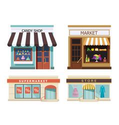 storefront set of different colorful shops market vector image