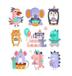 Stylized Funky Animals Birthday Celebration vector image vector image