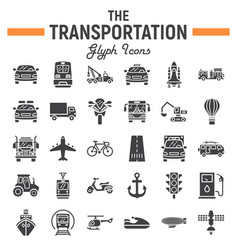 transportation glyph icon set transport symbols vector image