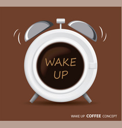 wake up coffee and alarm clock concept vector image vector image