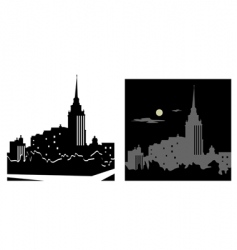white and black cityscape vector image