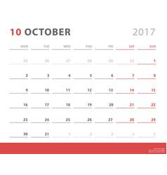 calendar planner 2017 october week starts monday vector image vector image