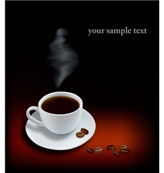 cup coffee and beans black background vector image vector image