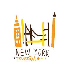 new york tourism logo template hand drawn vector image