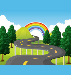 park scene with road and rainbow in background vector image