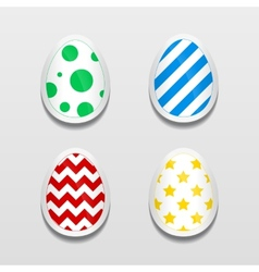 Set of 3d egg stickers with different patterns for vector image