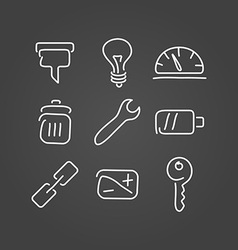 Technical tools set icons draw effect vector image vector image