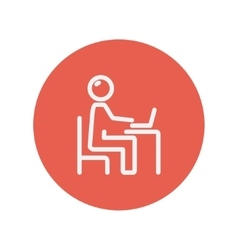 Businessman and laptop thin line icon vector image