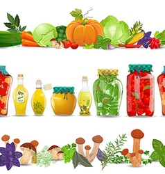 collection seamless borders with preserve food vector image