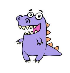 cute smiling purple dinosaur vector image