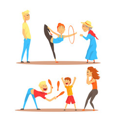 Girl doing gymnastics dance with hoop juggler vector