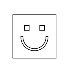 happy face square isolated icon design vector image