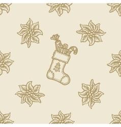 poinsettia christmas flower gift sock pattern vector image