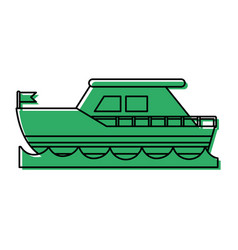 ship on water sideview with flag icon imag vector image
