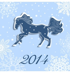 Christmas and New Year card with a horse vector image vector image