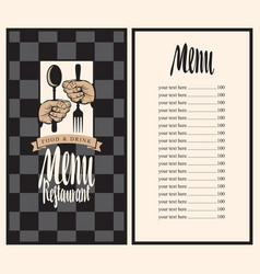 menu with hands and utensils vector image