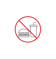 no food line icon no eating red prohibited sign vector image