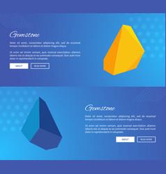 uncut gemstones on internet posters templates vector image vector image
