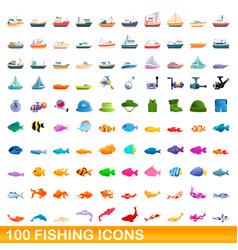100 fishing icons set cartoon style vector image