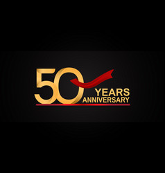 50 years anniversary design with red ribbon vector