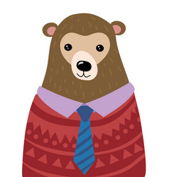 a cartoon portrait a bear stylized grizzly vector image
