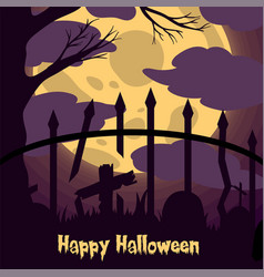 Abandon grave silhouette with moon light for vector
